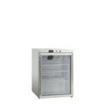 Køleskab med glaslåge på 145 liter - underbordsmodel, rustfri stål