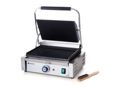 """Klemgrill, """"Panini"""" enkel - 2200 W - med rillet top og bund - inkl grillbørste"""