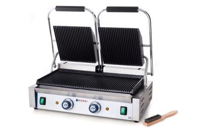 Klemgrill, dobbelt - 3600 W - med rillet top og bund - inkl grillbørste