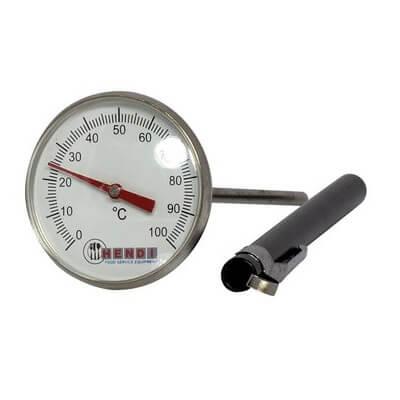Stegetermometer, fra 0°C til 100°C med 127 mm sensor i rustfrit stål