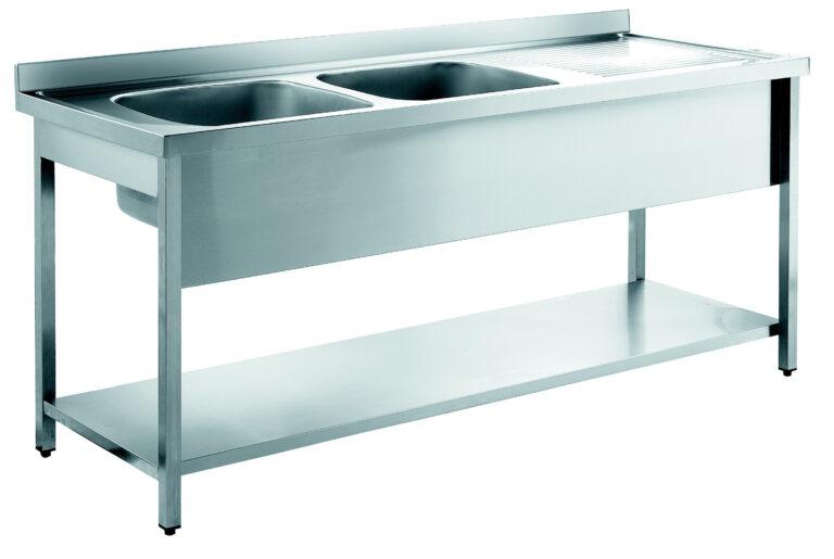 Arbejdsbord med 2 vaske (forskellige længder)