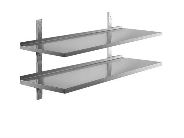 400 mm dyb dobbelt hylde med vanger i rustfri stål