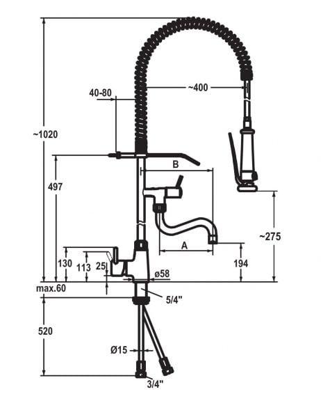 KWC 1-huls armatur til bordmontering med forbruser og 200mm svingtud på standrør - stregtegning
