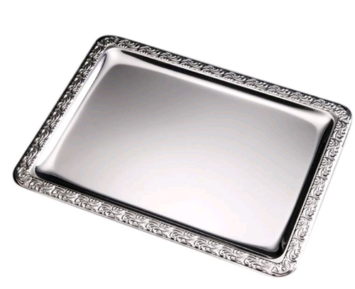 Fad i rustfrit stål 1/1 GN (53 x 32,50) med dekoreret kant