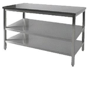 Rustfri Stålbord 700 mm med 2 underhylder - fuldt svejset - længder 800 - 2800 mm