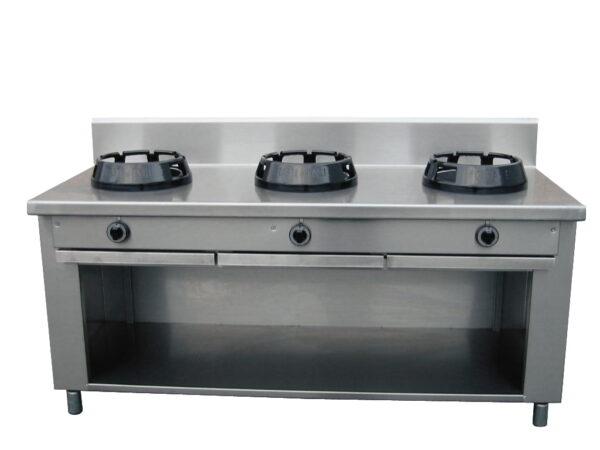 WOK komfur med 3 kogezoner