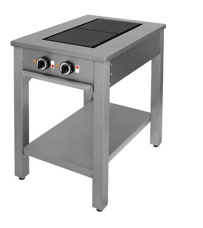 Masseplade kogebord fra Metalo med 2 hængslede vendbare plader for let rengøring.