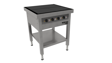 Masseplade kogebord fra Metalo med 4 plader og hæve/sænke funktion