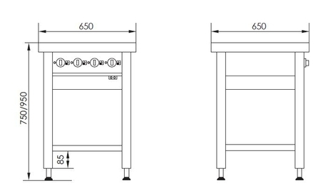 Stregtegninger - Masseplade kogebord fra Metalo med hæve/sænke funktion