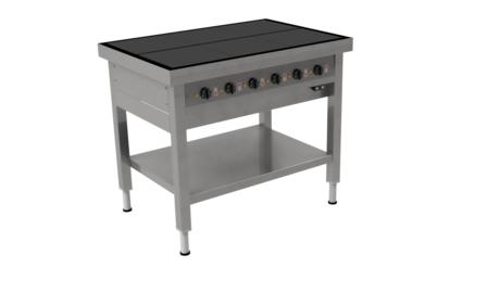 Masseplade kogebord fra Metalo med 6 plader og hæve/sænke funktion