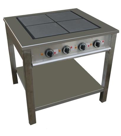 Masseplade kogebord fra Metalo med 4 hængslede vendbare plader for let rengøring.