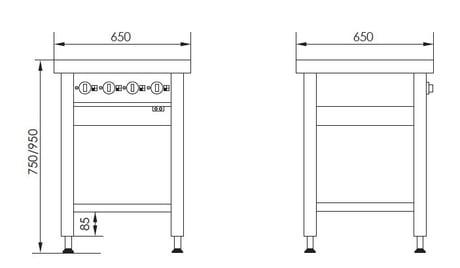 Stregtegning - Masseplade kogebord fra Metalo med hæve/sænke funktion