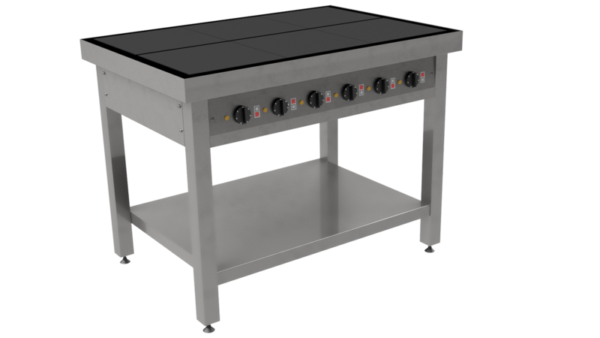 Masseplade kogebord fra Metalo med 6 hængslede vendbare plader for let rengøring.