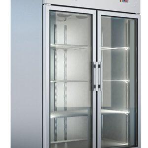 Dobbelt industrikøleskab med glaslåger fra Bambas Frost