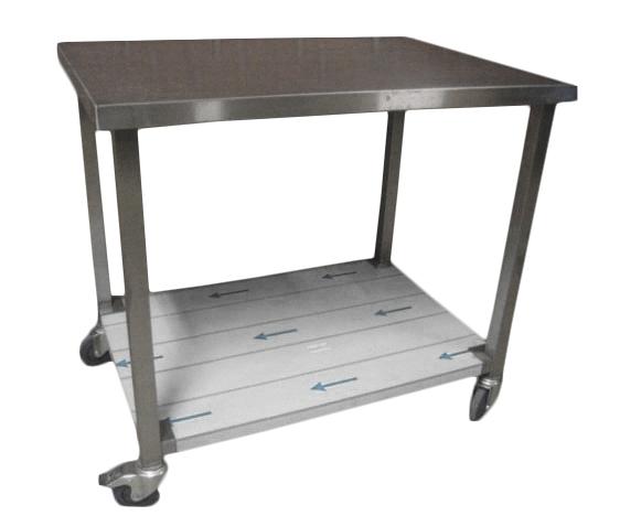 Rullebord i rustfrit stål med underhylde