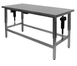 Hæve-/sænke bord 700 mm dyb i rustfrit stål til storkøkkener uden underhylde - kan produceres efter mål