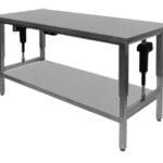 Hæve-/sænke bord 600 mm dyb i rustfrit stål til storkøkkener med underhylde - kan produceres efter mål