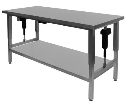 Hæve-/sænke bord 700 mm dyb i rustfrit stål til storkøkkener med underhylde - kan produceres efter mål
