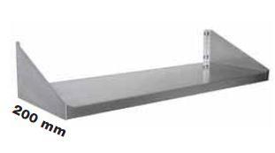 Enkelt hylde 200 mm dyb i flere længder i rustfri stål