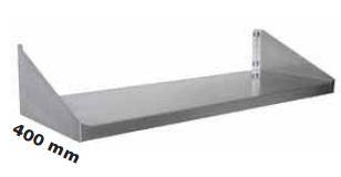 Enkelt hylde 400 mm dyb i flere længder i rustfri stål