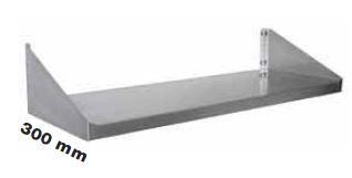 Enkelt hylde 300 mm dyb i flere længder i rustfri stål
