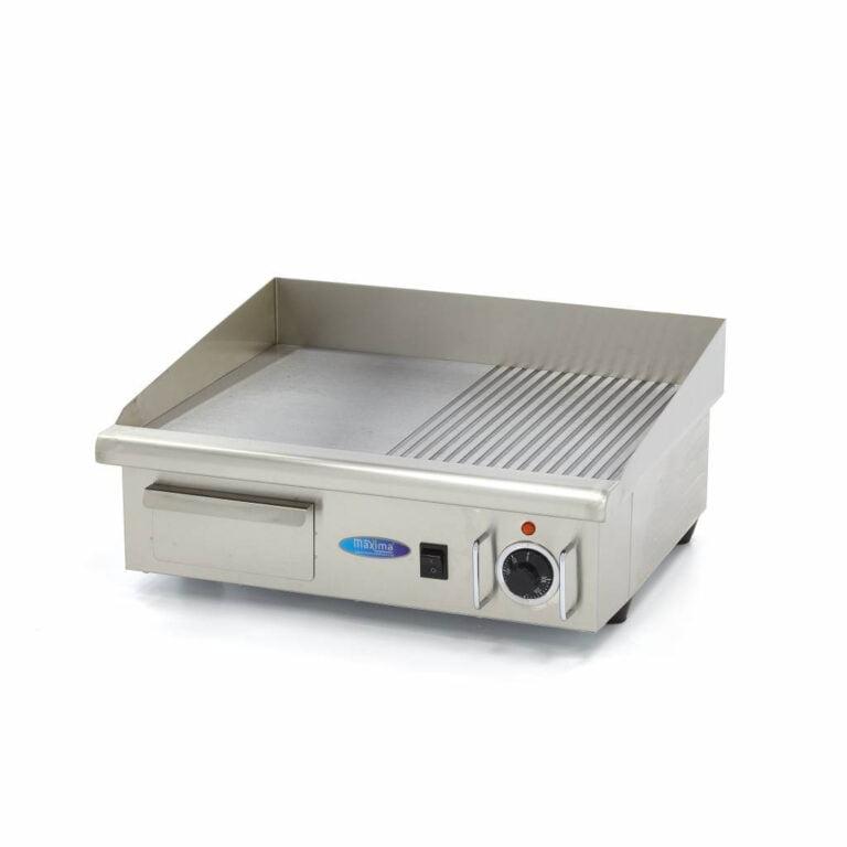 Stegeplade med glat plade, 3 kW - 230V  - kraftig model - 1/2 rillet 1/2 glat