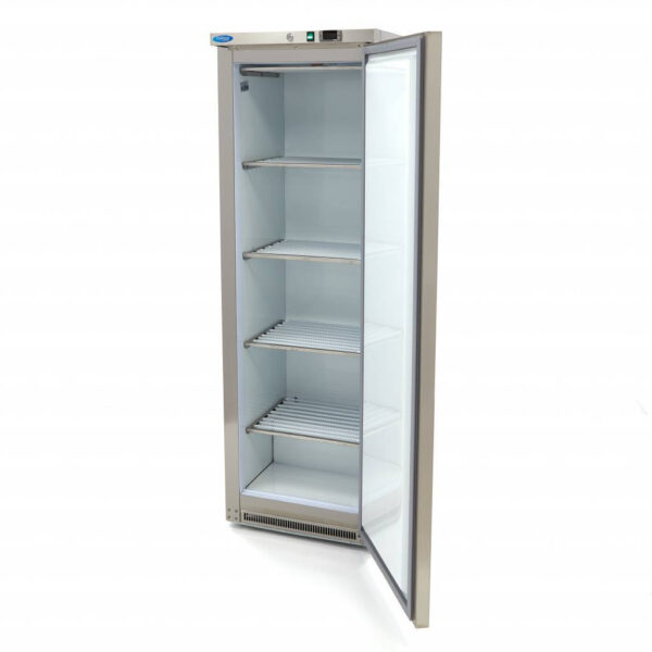 Lagerfryseskab, Maxima 400 liter i rustfri stål  - hvid plast indeni