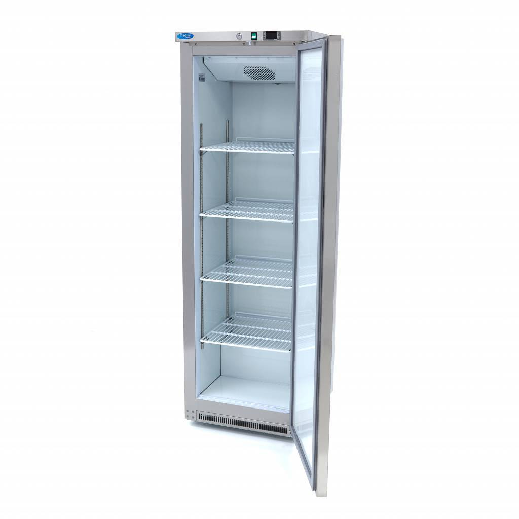 Lagerkøleskab, Maxima 400 liter i rustfri stål - hvid plast indeni