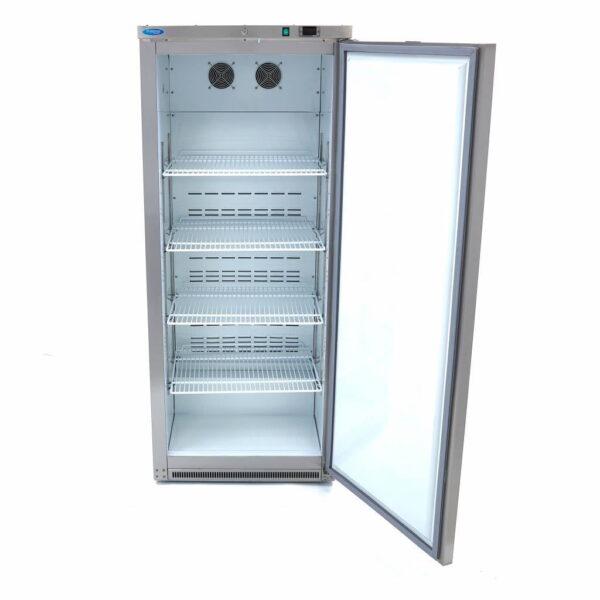 Lagerkøleskab, 600 liter i rustfri stål fra Maxima  - hvid plast indeni