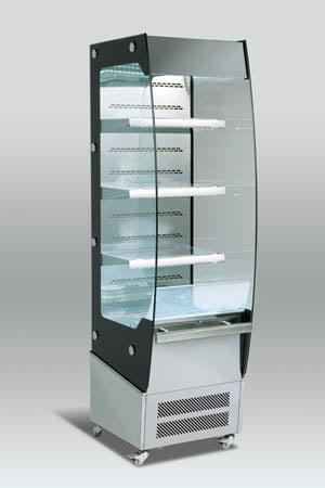 Smal kølereol med natgardin og ventilleret køling