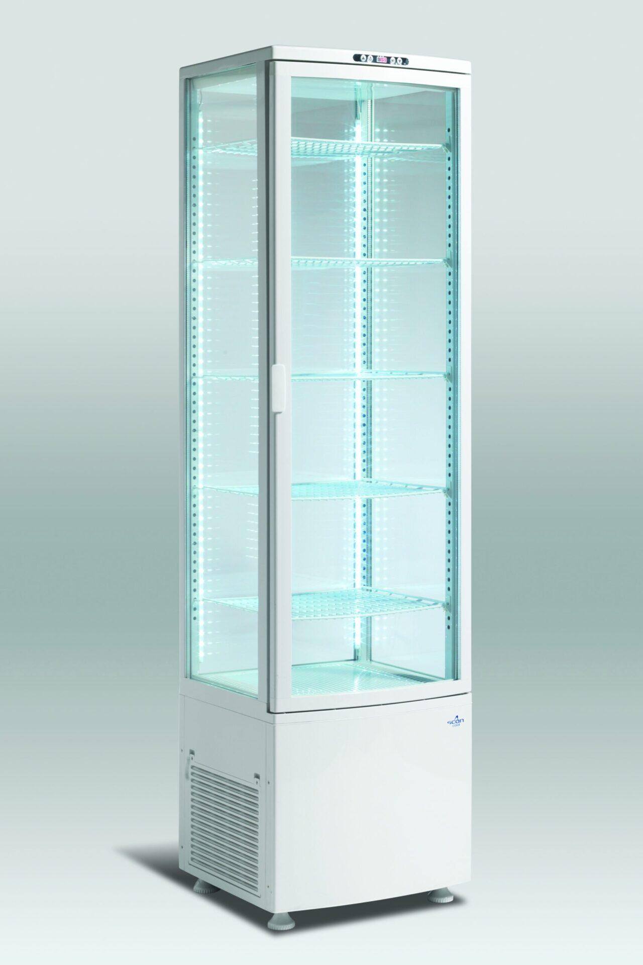 Displaykøler 285 liter - hvid gulvmodel med lys til feks. kager