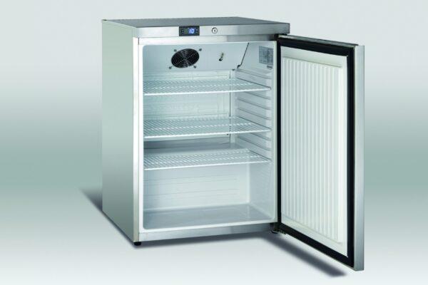 Køleskab underbordsmodel på 145 liter i rustfri stål - 3 hylder