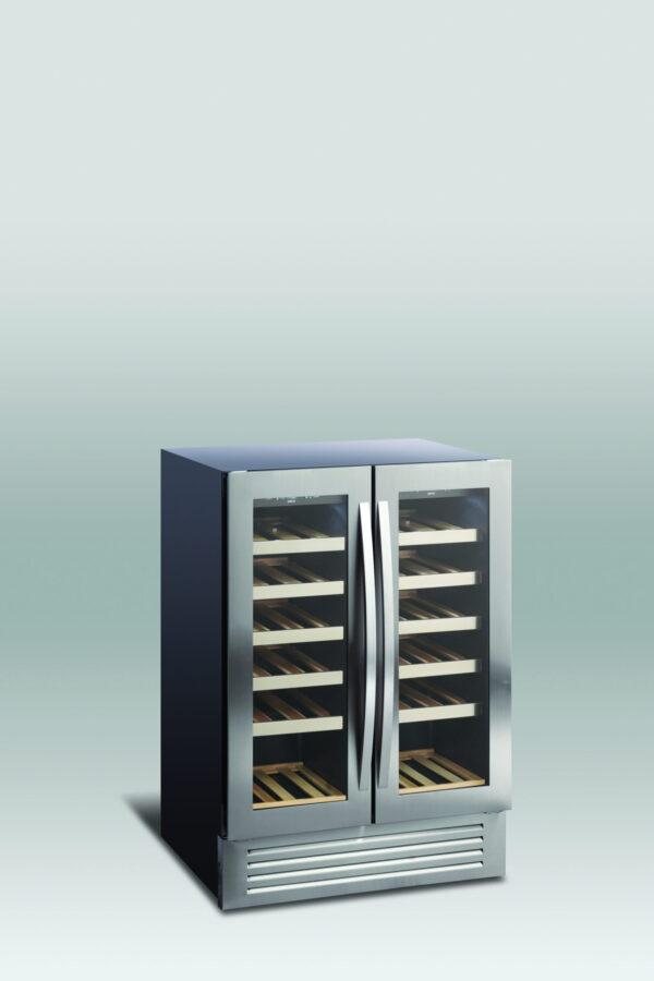 Lækkert vinkøleskab, underbordsmodel, med 2 temperatur zoner fra Scandomestic, praktisk og præsentabelt vinskab