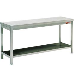 Rustfri Stålbord 600 mm med underhylde - fuldt svejset - længder 800 - 2800 mm