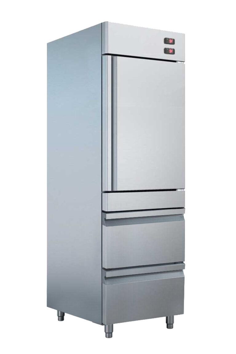 kombineret køle/fryseskab - fryseskab med skuffer i høj kvalitet, afrundede hjørner og tåler høje omgivelses temperaturer